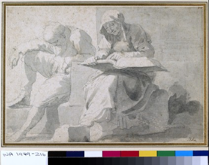 Old man asleep, sitting on masonry, beside an old woman reading a large book