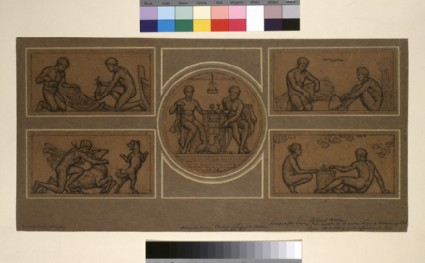 Design for Ivory Plaque to be inlaid in a Serving Table: Two Fishermen