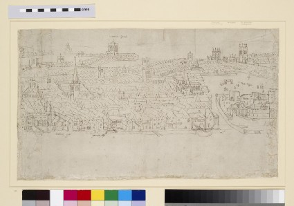 Panorama of London as seen from Southwark: Billingsgate to Tower Wharf