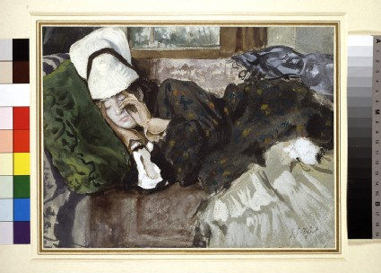 Woman in outdoor costume, sleeping on a couch