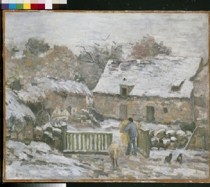 Farm at Montfoucault in snow
