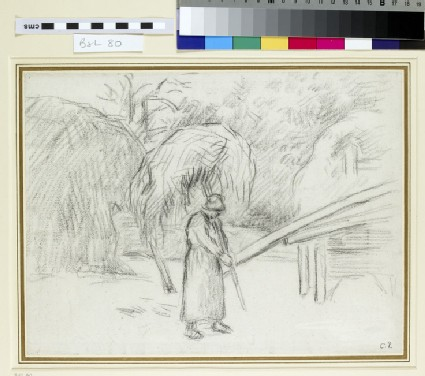 Study of a female Peasant carrying a Load of Hay in the Farmyard at Foucault