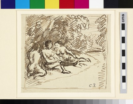 Compositional study of three female bathers in a wooded landscape