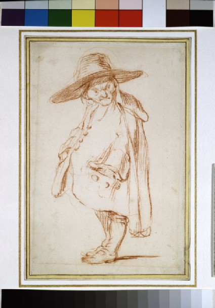Caricature of a small man in a wide-brimmed hat