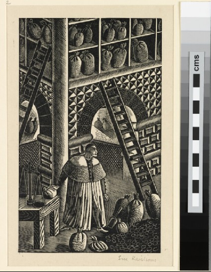 Illustration for 'Famous Tragedy of the Jew of Malta': the Jew of Malta in his counting house