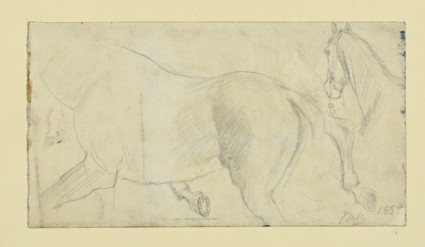 Recto: studies of a horse for 'The Traveller' Verso: a tree beside a Stream