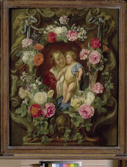The Virgin and Child in a Cartouche decorated with a Flower Garland