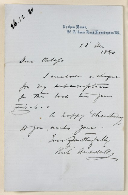 Letter from Richard Ansdell, Lytham House, South Kensington, to Walter William Ouless