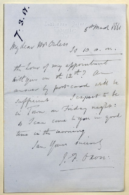 Letter from John Fielder Mackarness, Cuddesdon Palace, Oxford, to Walter William Ouless
