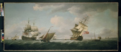 Shipping in a Breeze, with a Cutter close-hauled in the foreground