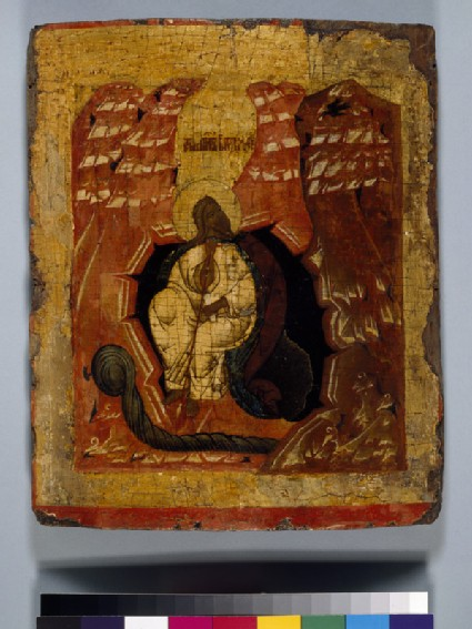 Icon of Elijah fed by a Crow