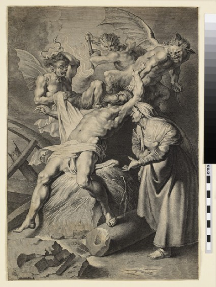 Job tormented by three demons and abused by his wife