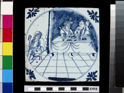 Tile with Dives and his wife at a table and Lazarus with a dog