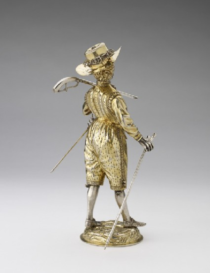 Cup and cover in the form of a musketeer