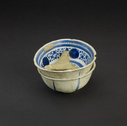 Two bowls and a pottery separator, fused in the kiln