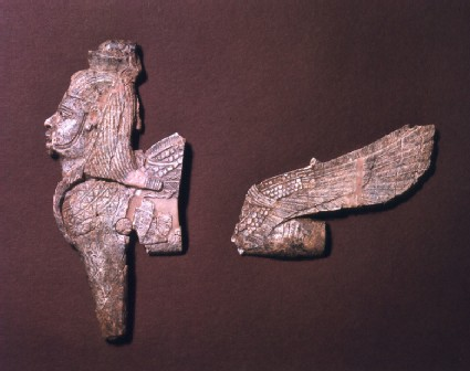 Ivory open work fragment depicting winged sphinx