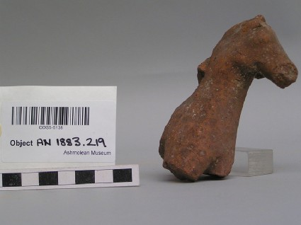 Fragmentary terracotta horse head and neck figurine, possibly with traces of a hand of a rider on its mane