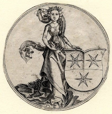 A Shield with three Stars of six points, supported by a Maiden