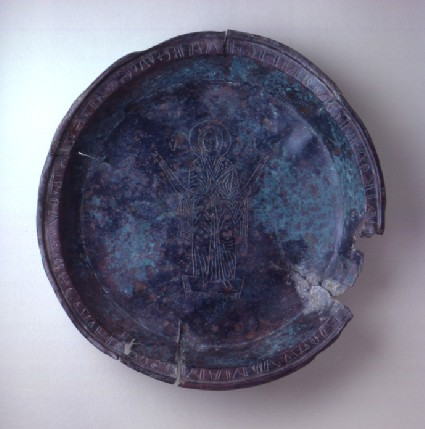 Paten engraved with the figure of the Virgin Mary in prayer, with Greek inscription