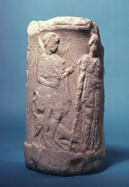 Fragment of a cylindrical altar, carved in low relief with three Greek deities (Hermes, Demeter and another female figure