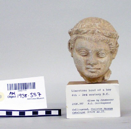 Head of boy with fillet, fragment of limestone votive sculpture