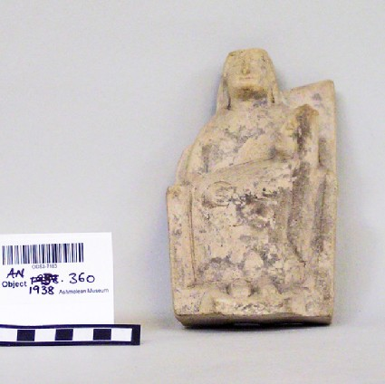 Limestone statuette of seated mother, or kourotrophos, with swaddled baby across her lap