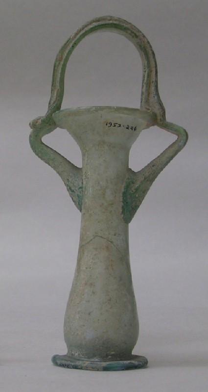 Basket-handled glass phial