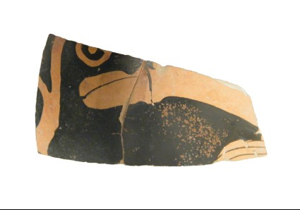 Attic red-figure pottery kantharos fragment