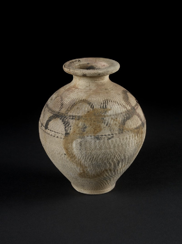Narrow necked painted jar