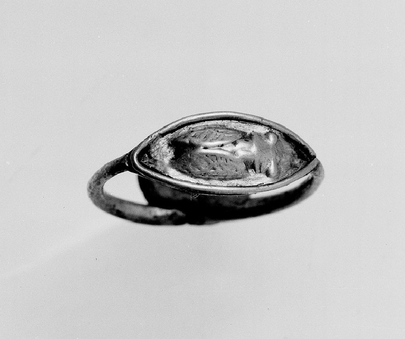 Gold ring with cicado engraved in relief