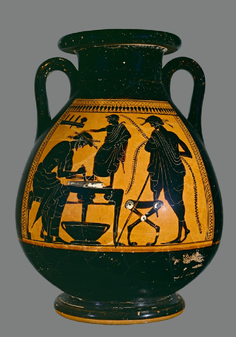 Attic black-figure pottery pelike depicting a scene of daily life