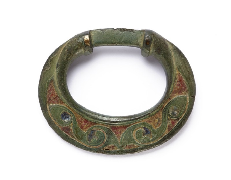 Bronze terret with blue and red enamelled decoration (AN1927.4615)