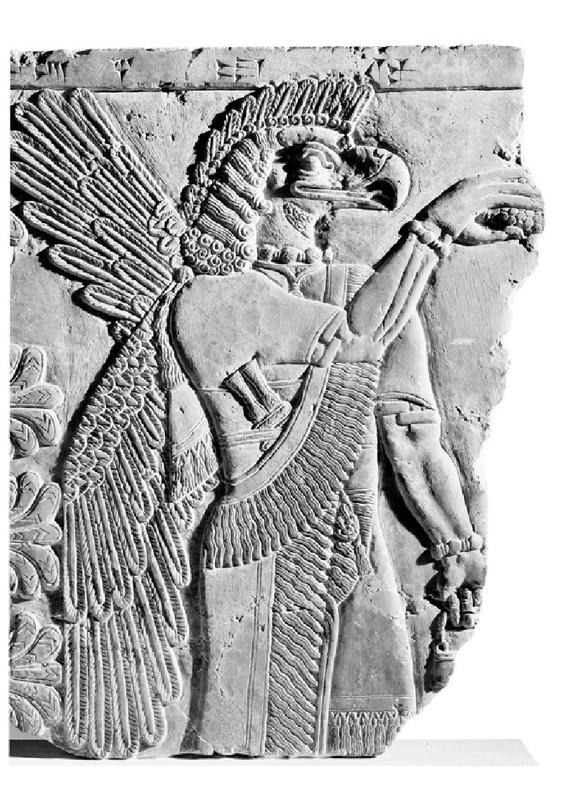 Relief of protective spirit, eagle-headed god with large wings and feathered headdress (AN1950.241)