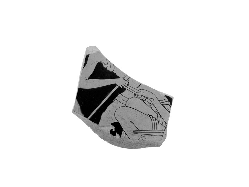 Attic red-figure pottery stemmed cup sherd depicting a scene of daily life (AN1966.469)