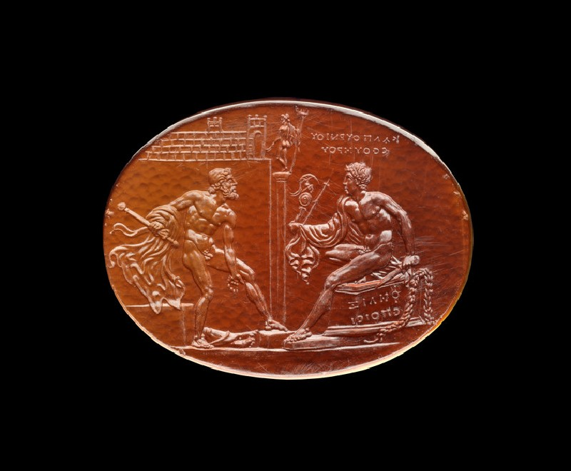 Felix gem with scenes from the Trojan Wars, Diomedes, and Odysseus (AN1966.1808)