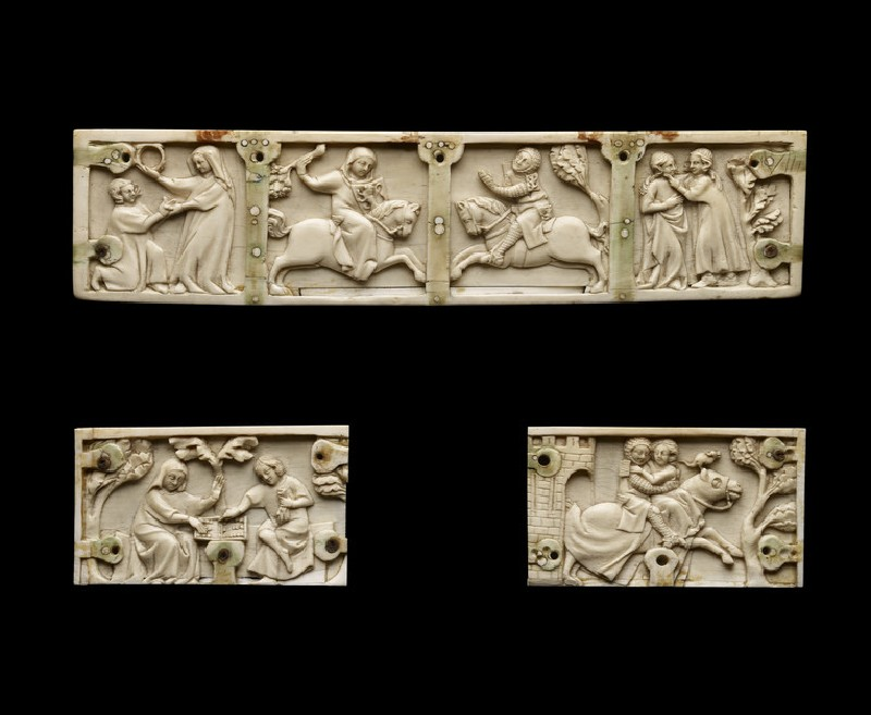 Three panels from a casket with romance scenes (AN2008.27)