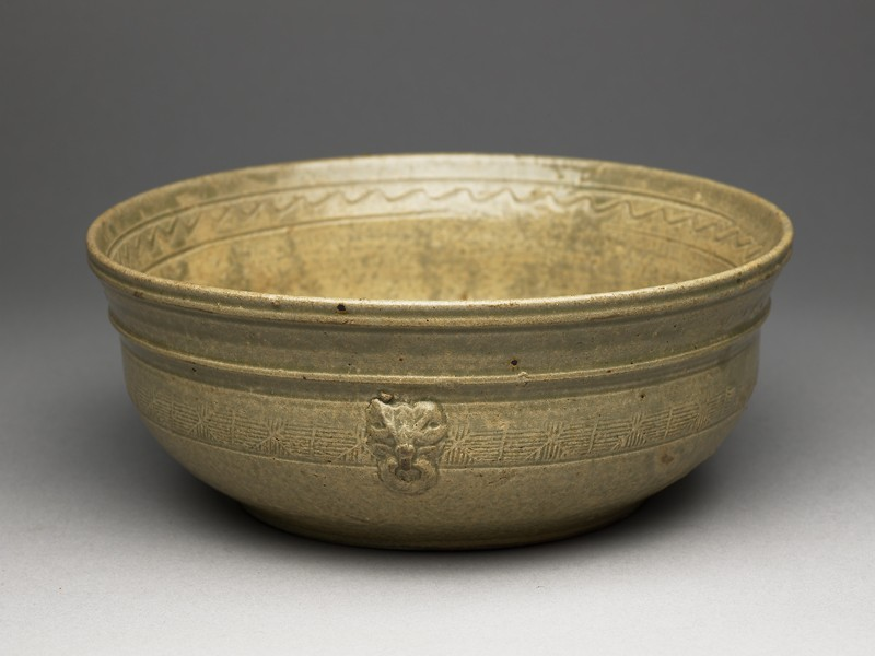 Greenware bowl with bands of decoration (EA1956.238, oblique            )