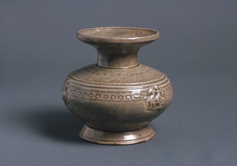 Greenware jar with horse and rider (EA1956.939, oblique            )