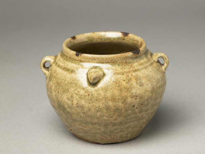 Greenware jar with chicken head and tail (EA1956.974, oblique            )