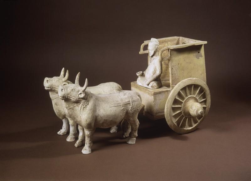 Earthenware model of oxen and cart (EA1956.1030, oblique             )
