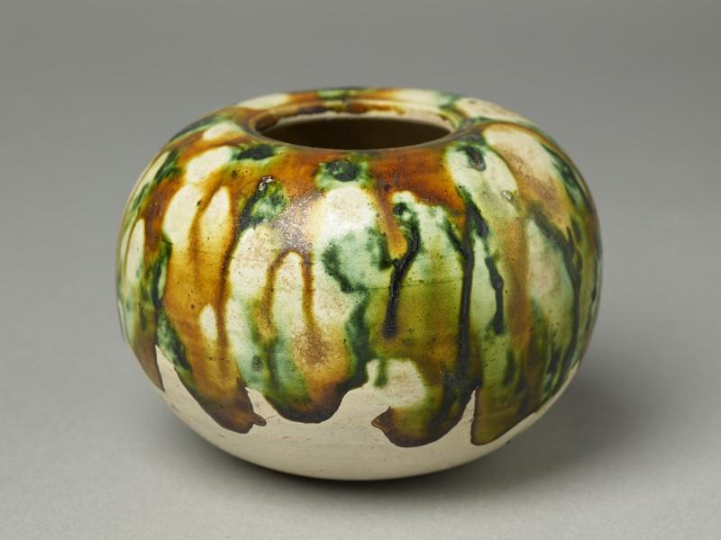 Globular bowl with three-colour glaze