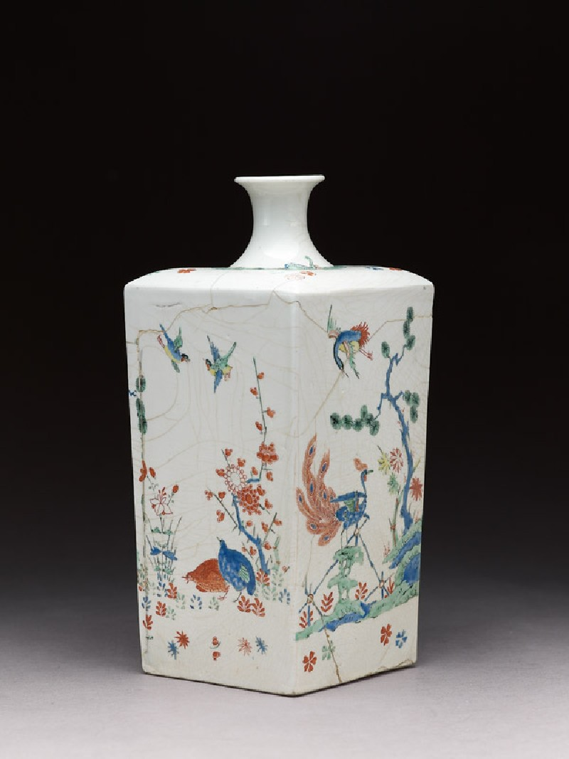 Square bottle with Dutch decoration of tiger and birds