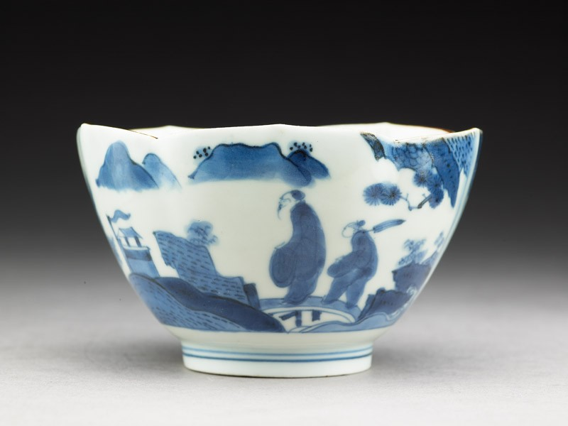 Petalled bowl with 'Deshima Island' theme