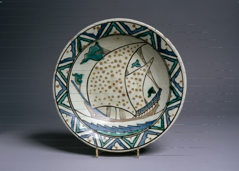 Dish with ship (EA1978.1450, top             )