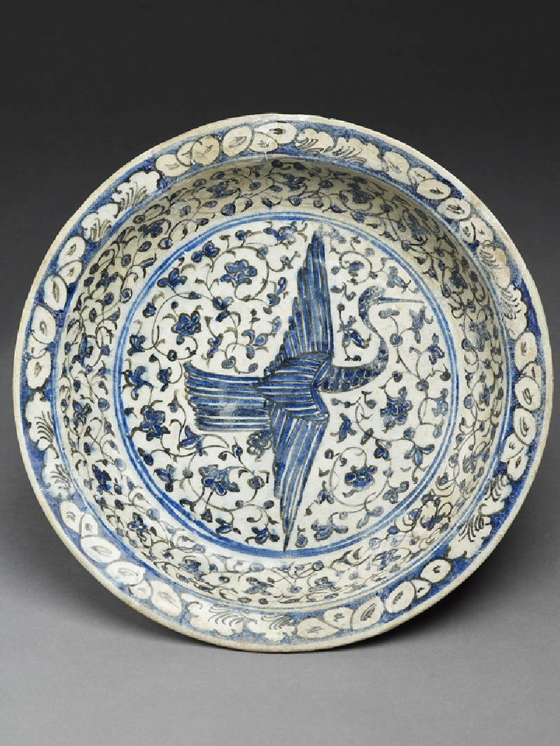 Dish with flying crane against a floral background (EA1978.1605, top             )