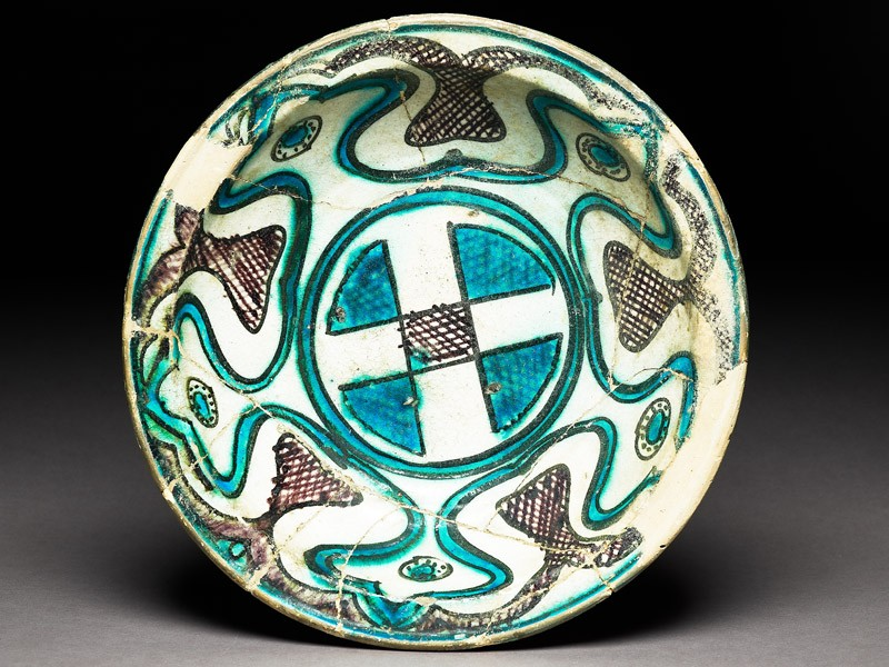 Bowl with central cross and ogival panels