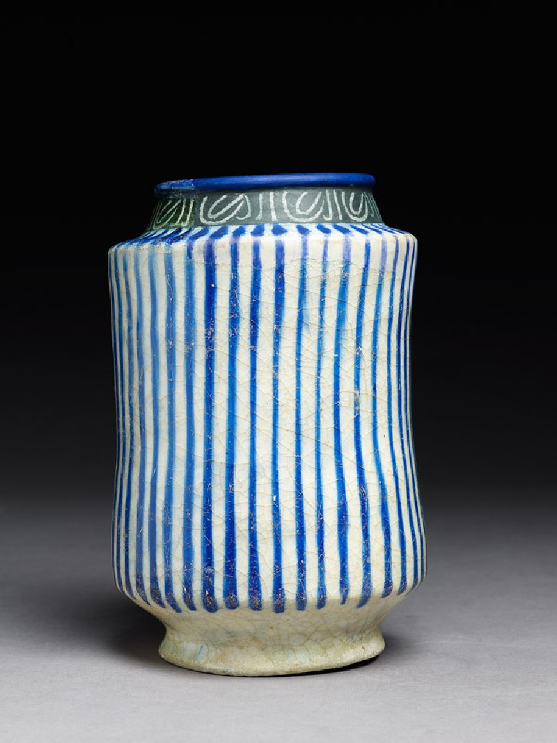 Albarello, or storage jar, with stripes and inscription (EA1978.2234, side             )