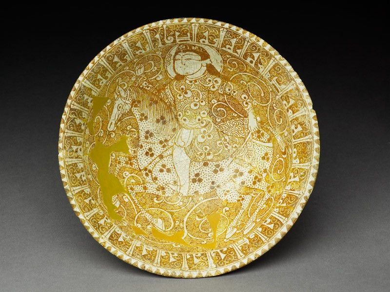 Bowl with rider and pseudo-kufic inscription