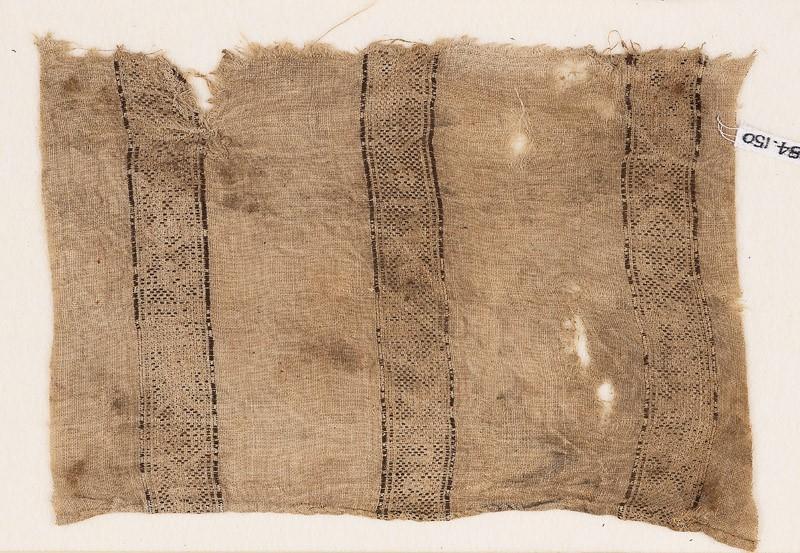 Textile fragment with bands of lozenges and quatrefoils (EA1984.150, front            )