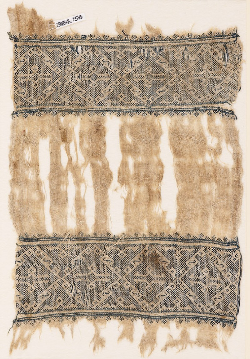 Textile fragment with bands of diamond-shaped squares (EA1984.156, front            )